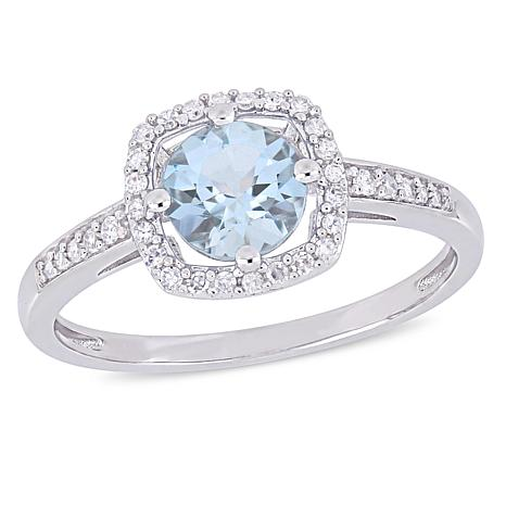 10K White Gold .89ctw Diamond and Aquamarine Halo Ring