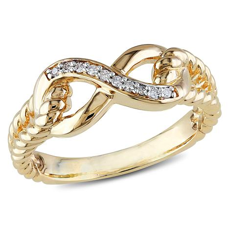 10K Yellow Gold 0 05ctw White Diamond Infinity Band Ring