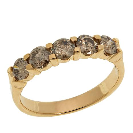 10K Yellow Gold 1ctw 5-Stone Champagne Diamond Band Ring