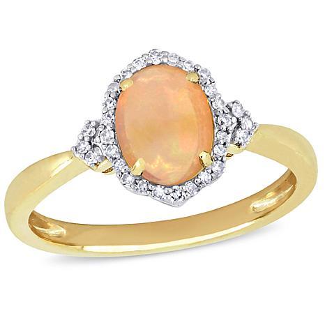 10K Yellow Gold Diamond and Ethiopian Opal Halo Ring