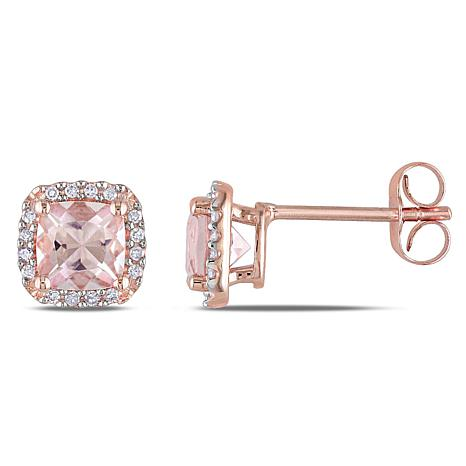 1 19ctw Morganite And Diamond 10k Rose Gold Earrings