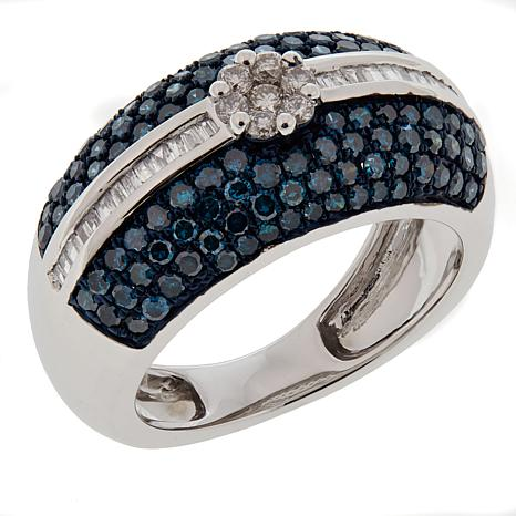 1.29ctw Blue and White Diamond 10K White Gold Band Ring
