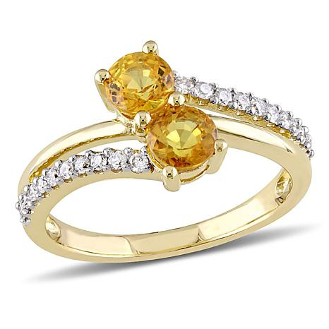 1.30ctw Citrine and Diamond 10K Bypass Ring