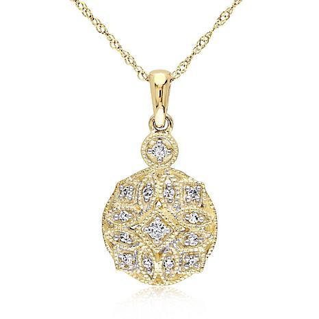 .13ctw Diamond 14K Round Vintage-Inspired Pendant