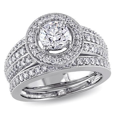 1.3ctw Diamond Semi-Eternity-Style 14K Gold Bridal Set
