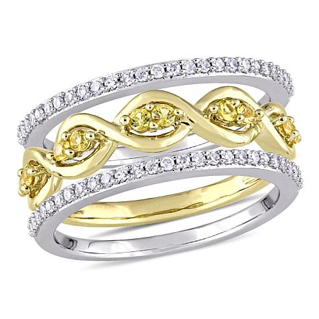 14K 2-Tone Gold 0.53ctw Diamond and Yellow Sapphire 3-piece Ring Set