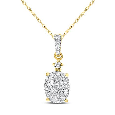 """14K Gold 0.4ctw Diamond Oval Drop Pendant with 18"""" Cable Chain"""