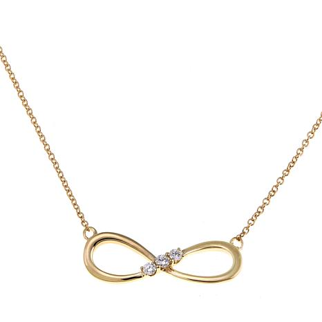 "14K Gold 3-Stone Diamond Infinity-Design 18"" Necklace"