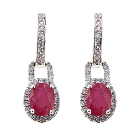 14k Gold 3 25ctw Ruby And White Zircon Drop Earrings