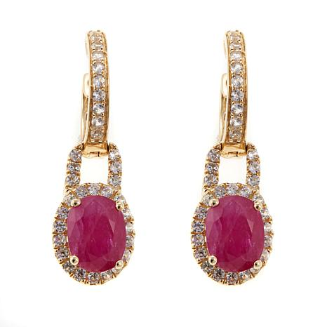 14K Gold 3.25ctw Ruby and White Zircon Drop Earrings