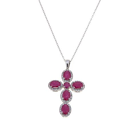 14K Gold 5.01ctw Mozambique Ruby and Zircon Pendant