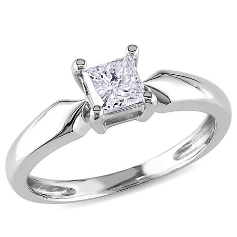 2d18789f4a676 14K White Gold .5ct Princess-Cut White Diamond Solitaire Ring