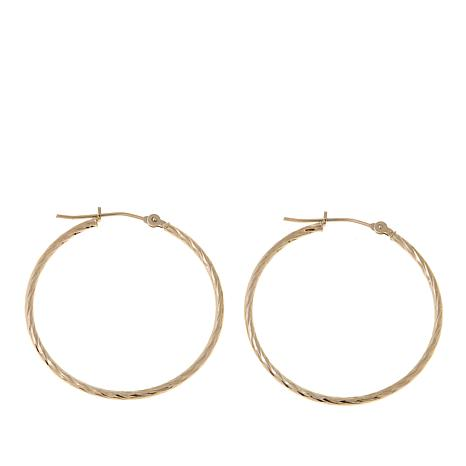 14k Gold Diamond Cut 1 3 16 Hoops