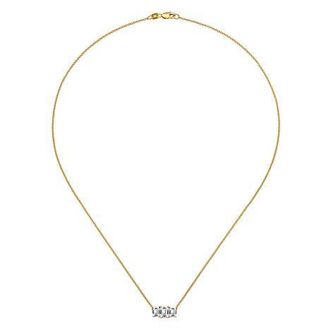 14K Gold Emerald-Cut 3-Stone Moissanite Necklace