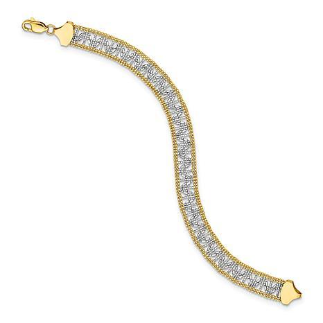 14K Gold Two-Tone Beaded Link Bracelet