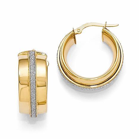 14K Polished Glimmer-Infused Hinged Hoop Earrings