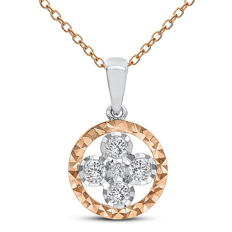 "14K Rose and White Gold Flower Pendant with 18"" Cable Chain"