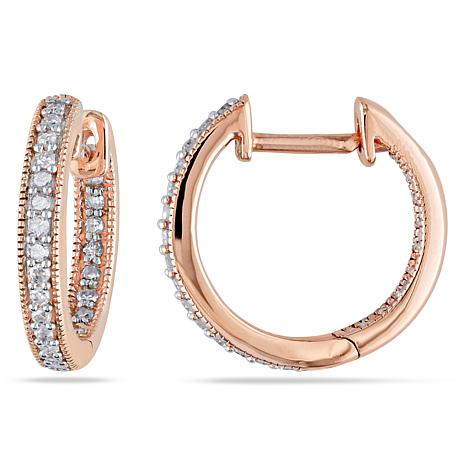 14k Rose Gold 0 23ctw White Diamond Pavé Hoop Earrings