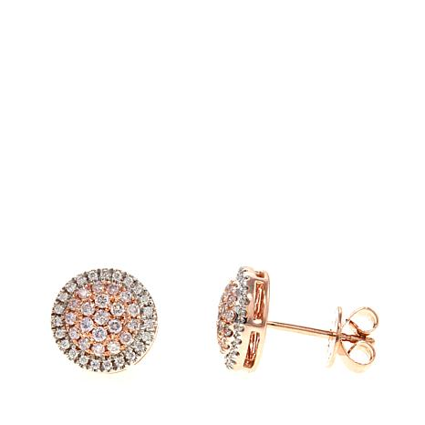 14k Rose Gold 0 38ctw Pink White Diamond Earrings