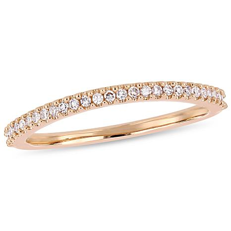 14K Rose Gold .14ctw White Diamond Wedding Band Ring