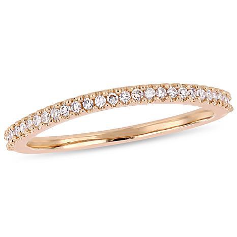 14K Rose Gold .14ctw White Diamond Wedding Band Ring