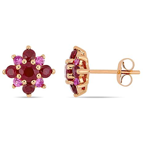 14K Rose Gold Ruby and Pink Sapphire Clustered Star Stud Earrings