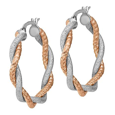 14K Two-Tone Satin and Diamond-Cut Twisted Triple Hoop Earrings
