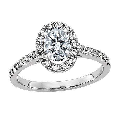 14K White Gold 1.32ctw Moissanite Oval and Round Halo Engagement Ring
