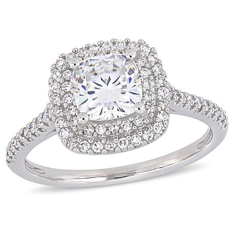 14K White Gold 1ct Moissanite and 0.34ctw Diamond Double-Halo Ring