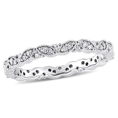 "14K White Gold .24ctw Diamond ""Leaf"" Eternity Band Ring"