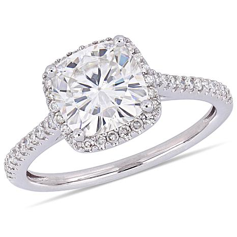 14K White Gold 2ct Moissanite and 0.23ctw Diamond-Accented Halo Ring