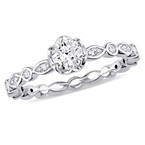 14K White Gold 495ctw Round Diamond Engagement Ring