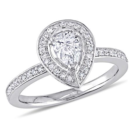 14K White Gold .60ctw Pear-Shaped Diamond Halo Engagement Ring