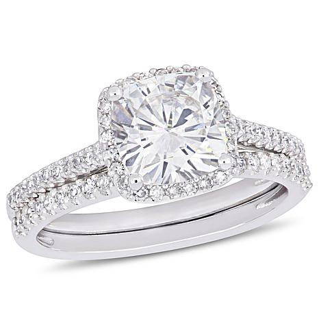 14k White Gold Cushion Cut Moissanite And Diamond Halo Bridal Ring Set