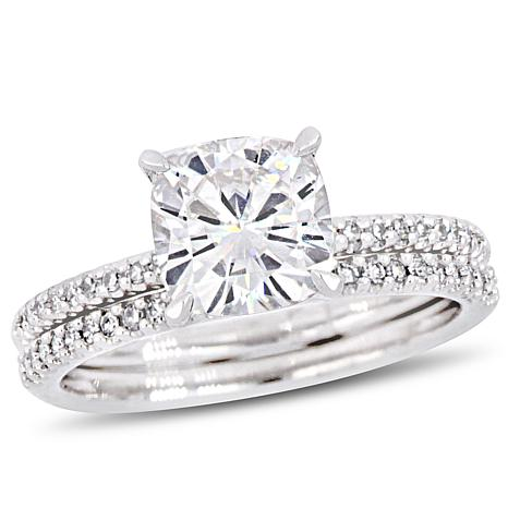 14K White Gold Diamond and Created White Moissanite Bridal Ring Set