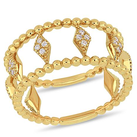 14K Yellow Gold 0.17ctw Diamond Beaded Marquise Station Ring