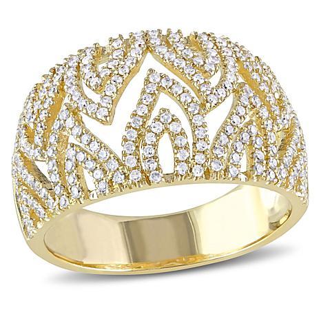 14K Yellow Gold 0.66ctw Diamond Pavé Open-Metalwork Ring