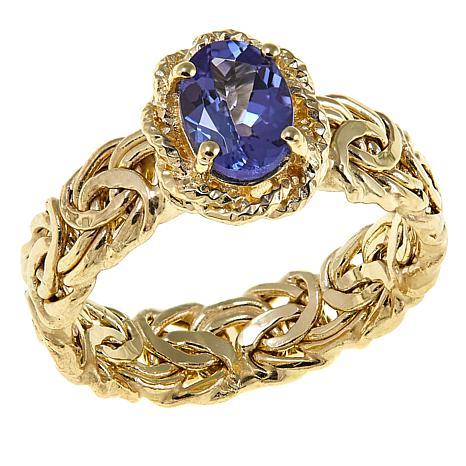 3417b2fd609 14K Yellow Gold 0.7ct Tanzanite Byzantine Band Ring - 8775353