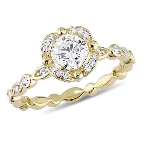 14K Yellow Gold 1.01ctw Diamond Round Engagement Ring