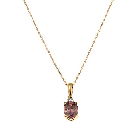 "14K Yellow Gold 1.54ctw Pink Zircon & Diamond Pendant with 18"" Chain"