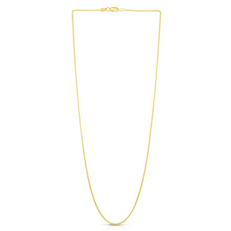14K Yellow Gold 1mm Round Wheat Chain Necklace - 18""
