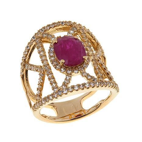 14K Yellow Gold 2.78ctw Ruby and White Zircon Band Ring