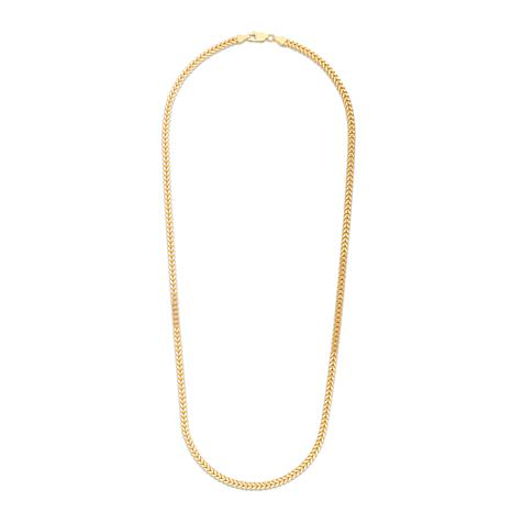 14K Yellow Gold 3.2mm Semi-Solid Square Franco Chain Necklace - 20""