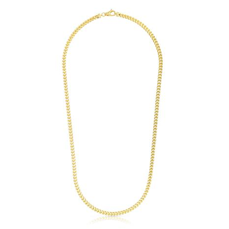 14K Yellow Gold 3.9mm Semi-Solid Square Franco Chain Necklace - 26""