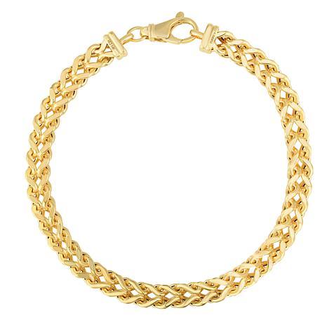 "14K Yellow Gold 6.4mm Semi-Solid Square Franco Chain Bracelet - 9"""