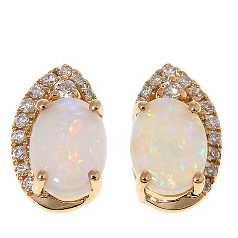 14k Yellow Gold Australian Opal And White Diamond Stud Earrings