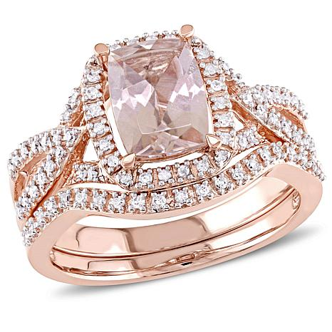 157ctw Pink Morganite and White Diamond 10K Rose Gold 2piece Ring