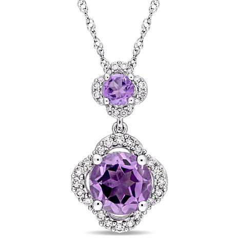 1.65ctw Amethyst and Diamond 14K  Double Drop Pendant