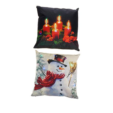 "17"" Decorative LED Pillow 2pk with Timer - Snowman & Holiday Candles"