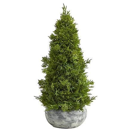 18 in. Cypress Cone Artificial Tree in Decorative Planter